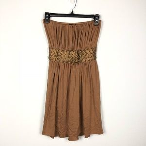 Sky • Tan Brown Strapless Belted Mini Dress
